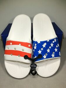Crocs American Flag Men's Size 10 White/Red/Blue Slide Sandals X6-967*