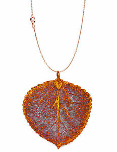 Zhannel Real Leaf Pendant w/Chain ASPEN Dipped in Copper Genuine Leaf Necklace