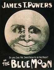 Vintage La Luna Azul Teatro Publicidad Cartel impresión A4
