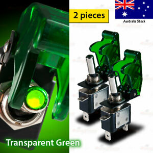 2x 12V 20A SPST Toggle Switch ON/OFF GREEN LED TRANSPARENT Aircraft Spring Cover