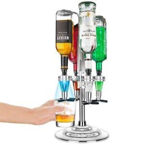 LED Light Rotary Stand Bar Wine Optic Alcohol Liquor Drinks Dispenser 4 Bottles