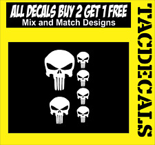 """0037    Punisher style Skull 1.25"""" (4)  3"""" (1) 2"""" (1)  (6 decals total)"""