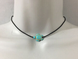 Turquoise Blue Sea Turtle Charm with Black Nylon Cord Choker Necklace