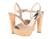Michael Kors Womens Lucia Platform Black or Brown Ankle Strap Heels Sandals