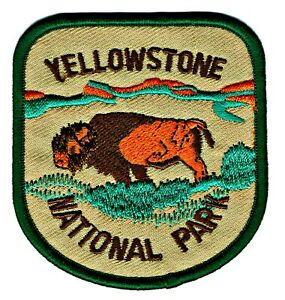 ⫸ YELLOWSTONE NATIONAL PARK Bison Embroidered PATCH Wyoming WY Iron-on NEW P37