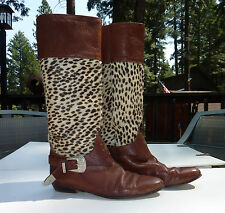 """ITALIAN """"SPOTTED HIDE"""" LEATHER Womens Animal Western Cowboy BOOTS 39   8.5 US"""