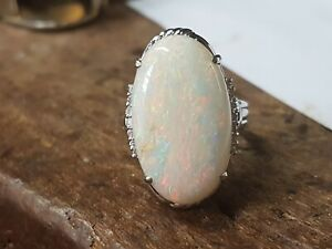 Platinum Opal 12.34cts And Diamond 0.19cts Ring