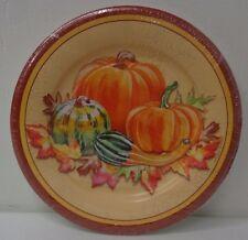 Thanksgiving Pumpkin Paper Plates 10pcs/pack Round Autumn Fall Design NEW I1