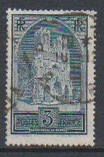 France - 1930, 3f Reims Cathedral stamp - Tyoe IIA - Used - SG 472b