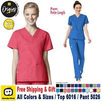 WonderWink Scrubs Set ORIGINS Women's V-Neck Top & Cargo Pant 6016/5026 Petite