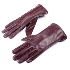 Womens Ladies Real Leather Winter Warm Touchscreen Short Gloves Graceful Gloves
