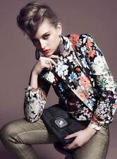 100% Authentic** Rare CELINE Floral Printed Leather Moto Biker Vest Jacket 36 3k