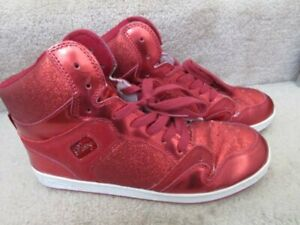 Pastry Red Sparkle Leather High Top Hip Hop Open Dance Shoes Size 10 Women