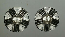 Two Vintage Clear Glass Buttons with painted Silver Highlights, flawless