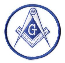 "Masonic / Freemason PATCH 3"" Round, White & Blue"
