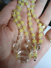 OUTSTANDING GENUINE ART DECO FACETED CRYSTAL & YELLOW URANIUM BEAD NECKLACE