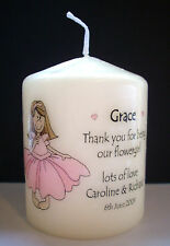 personalised thank you flower girl candle gift present favour wedding keepsake