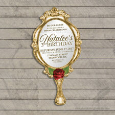 Beauty and the Beast Birthday Invitations / Die Cut Hand Mirror PRINTED