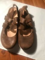 🔥NICE WOMENS BORN SIZE 10 BROWN LEATHER SLINGBACK STRAP- BUCKLE-SANDALS