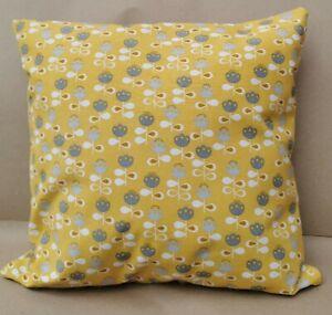 """Ochre Scandi Flowers cushion cover, 17x17"""", Yellow, Grey, Kapok, Handmade"""