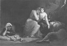 Edmund Spenser Poem FAIRIE QUEENE KNIGHT & WITCH CAVE ~ 1852 Art Print Engraving