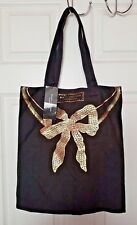 Marc Jacobs Fragrances Women Tote Bag Black Canvas Gold Bow Brand New With Tag