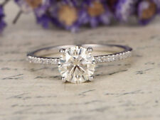 1Ct Round Cut VVS1/D Diamond Solitaire Engagement Ring 14K White Gold Over