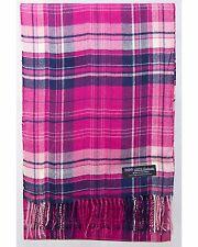 100% Cashmere Scarf Pink Blue Flannel Check Plaid SCOTLAND Wool Women R51 Wrap