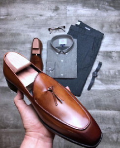 Handmade Mens brown Leather Tassels Shoes Loafer, Mens Brown Leather Dress shoes