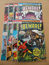 Beware  1 - 8 . Lot Complet . Marvel 1973 / 74