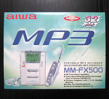 AIWA MM-FX500 Portable MP3 Recorder silber MP3 Player Voice Recorder 2 Slot OVP