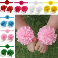 3pcs Sandals Elastic Foot Flower Barefoot Baby Girl Headband Hairband Set