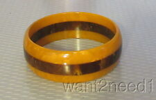 """vtg 1"""" WIDE LAMINATED BAKELITE BANGLE butterscotch & chocolate marble TESTED"""