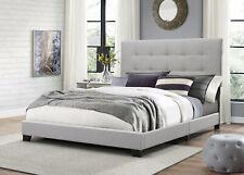 KING SIZE PLATFORM BED Wood Frame Tufted Headboard Bedroom Gray Upholstered Beds
