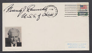 Frank J. Lausche, Governor & US Senator from Ohio, signed 1968 cover