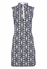 NWT Ladies IBKUL LUCK-KEY BLACK & WHITE Sleeveless Polo Golf Dress L & XL