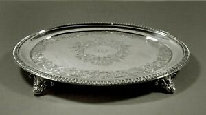 William Gale & Son Silver Tray              c1850 HAND DECORATED