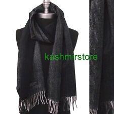 New Men's 100% CASHMERE Scarf Herring Bone Tweed Plaid SCOTLAND Soft Black/gray