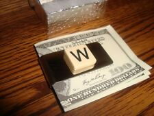 """"""" W """" MONOGRAM INITIAL faux Ivory Stainless Steel-Metal Money Clip wGift Box"""