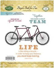 JUSTRITE CLING Stamps BICYCLE BUILT for TWO CL-02032 Good Work GREAT TEAM Life