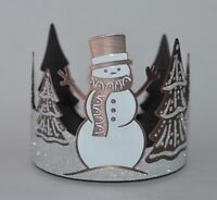 BATH BODY WORKS BRONZE FROSTED SNOWMAN LARGE 3 WICK CANDLE HOLDER SLEEVE 14.5 OZ