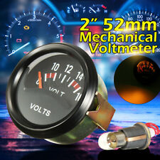 "52mm 2"" Car Truck Mechanical Volt Voltmeter Voltage Meter Gauge 8-16V Black 12V"