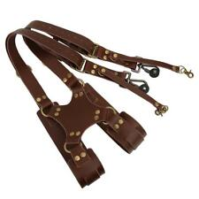 Dual Leather Rivet Double Shoulder Digital Camera Shoulder Strap Harness Access