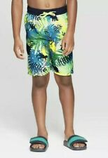 Cat & Jack Boys' Swim Trunks Dino Fern Green Sz M (8/10) Upf 50+ Sun Protection