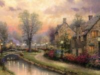 Thomas Kinkade. Lamplight Lane. 1000 Piece Jigsaw Puzzle by Gibsons. NEW. SEALED