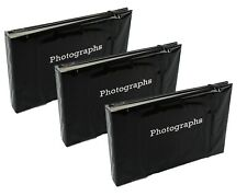 "3 x Slip In Photo Album Photography Storage Holds 72 6""x4""(10x15cm) Photos BLACK"