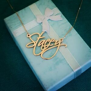 14k Solid Yellow Gold Personalized Custom Name Pendant, 14k Gold name necklace