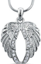 Angel Wings Necklace Silver Clear Crystal Guardian