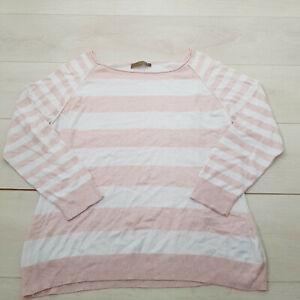 MINT VELVET Pullover Jumper Size 18 Pale Pink Striped Stretch Long Sleeve Fine