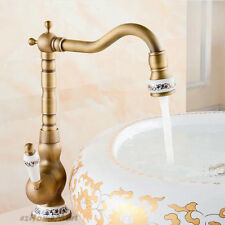 Antique Brass Tall Single Lever Bathroom Basin Sink Mixer Tap One Handle Faucet